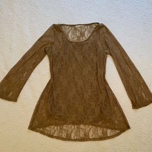 Blue Bird High Low Lace Tunic Blouse